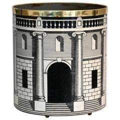 Piero Fornasetti Waste Paper Basket, Casa Con Colonne, Black and White, 1960