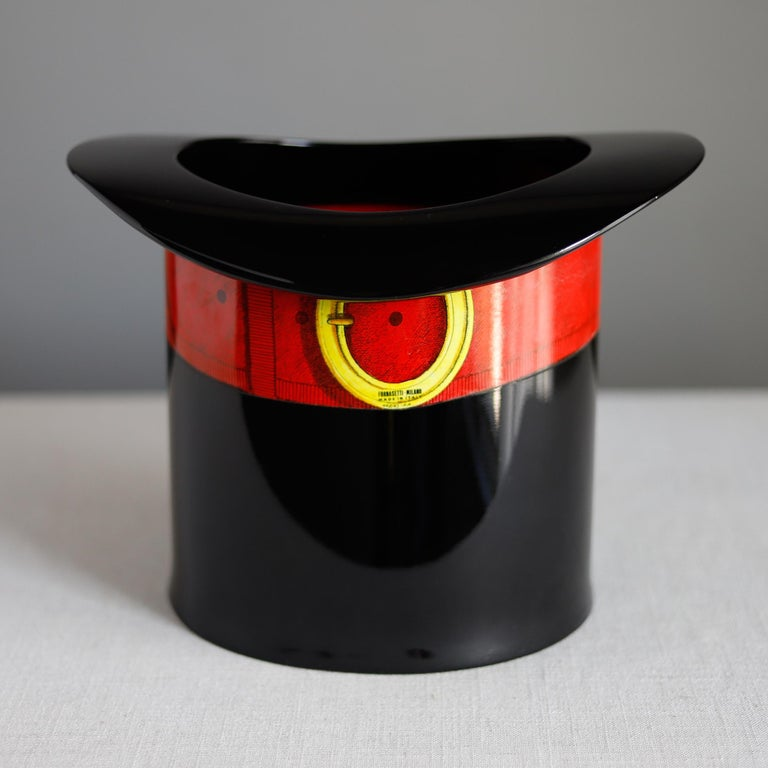 Aluminum Piero Fornasetti Wastepaper Basket, Italian Top Hat Trash Can Designed, 1950s For Sale