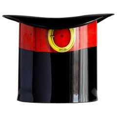 Piero Fornasetti Wastepaper Basket, Italian Top Hat Trash Can Designed, 1950s