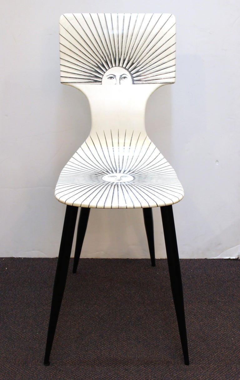 Neoclassical Revival Piero Fornasetti White 'Sole' Bar Chairs For Sale