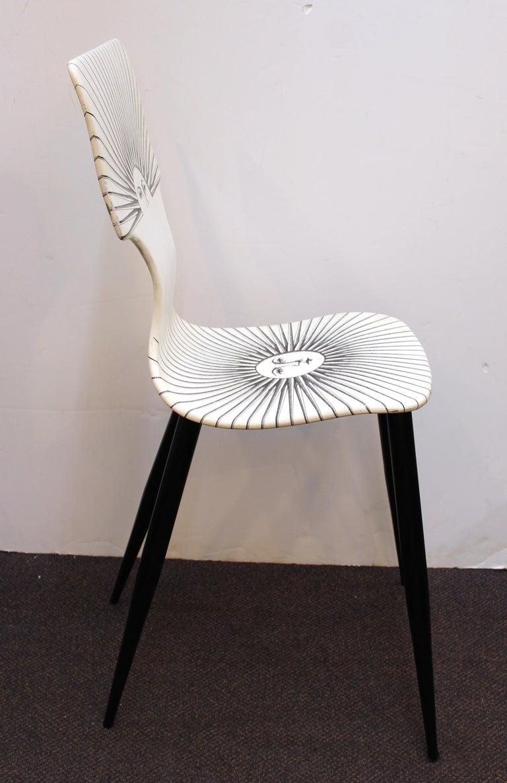 Italian Piero Fornasetti White 'Sole' Bar Chairs For Sale