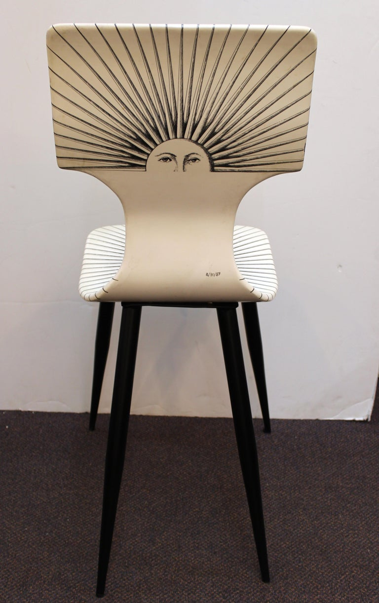 Piero Fornasetti White 'Sole' Bar Chairs In Good Condition For Sale In New York, NY