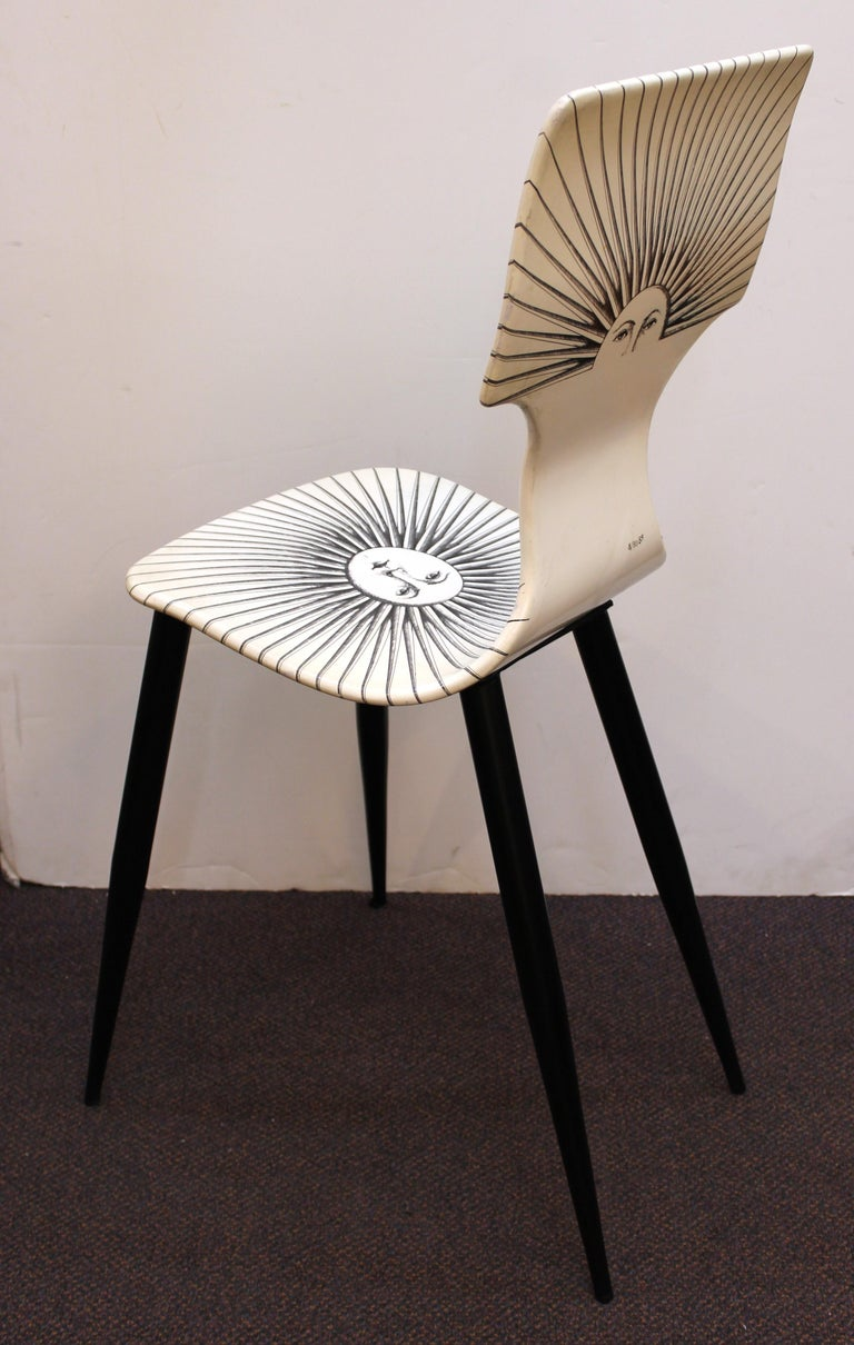 20th Century Piero Fornasetti White 'Sole' Bar Chairs For Sale