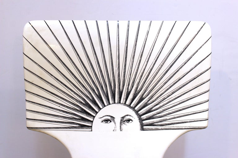 Metal Piero Fornasetti White 'Sole' Bar Chairs For Sale
