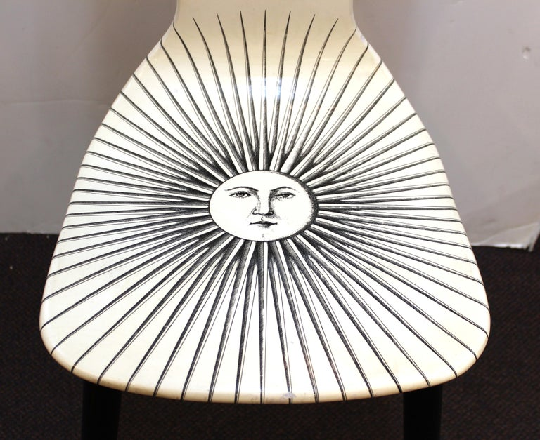 Piero Fornasetti White 'Sole' Bar Chairs For Sale 1