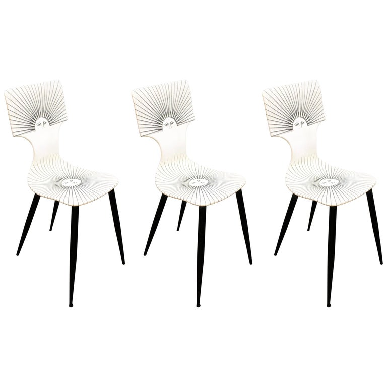Piero Fornasetti White 'Sole' Bar Chairs For Sale