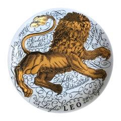 Piero Fornassetti Hand Painted Ceramic Zodiac Plates, Astral Leo, 1965