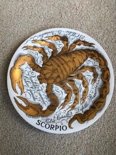 Piero Fornassetti Hand Painted Ceramic Zodiac Plates, Astral Scorpio, 1967