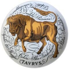 Piero Fornassetti Hand Painted Ceramic Zodiac Plates, Taurus, 1968