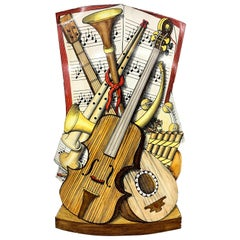 Piero Fornasetti Trompe L'oeil Umbrella Stand with Musical Theme