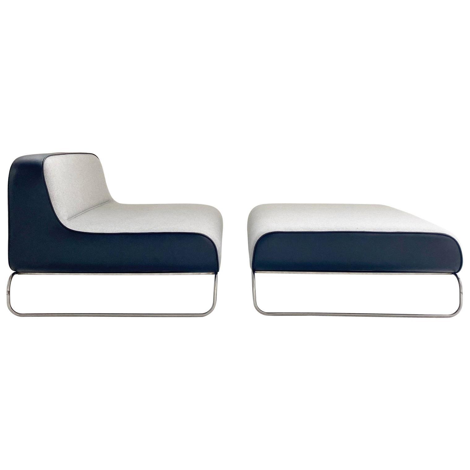 Piero Lissoni Lounge Chair & Ottoman in Loro Piana Cashmere and Leather