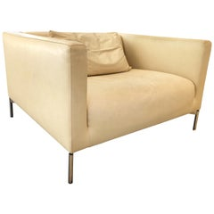 """Piero Lissoni """"Twin"""" Leather Lounge Chair for Living Divani"""