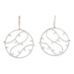 Piero Milano 18 Karat Rose Gold Full Diamond Pave Openwork Earrings