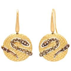 Piero Milano Colored Diamond Snake Earrings