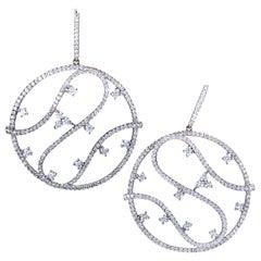 Piero Milano Womens 18 Karat Gold Full Diamond Pave Large Round Openwork Earring
