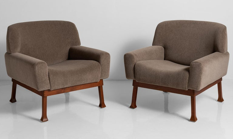 Piero Ranzani armchairs, Italy circa 1950.  Newly upholstered in brown mohair by Maharam, on original teak frame.