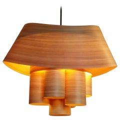 PIERPONT Custom Cypress Wood Drum Chandelier Pendant