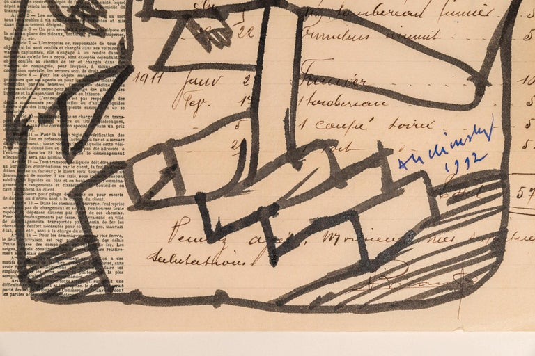 Paper Pierre Alechinsky, Composition 1992, Signed, Belgium For Sale