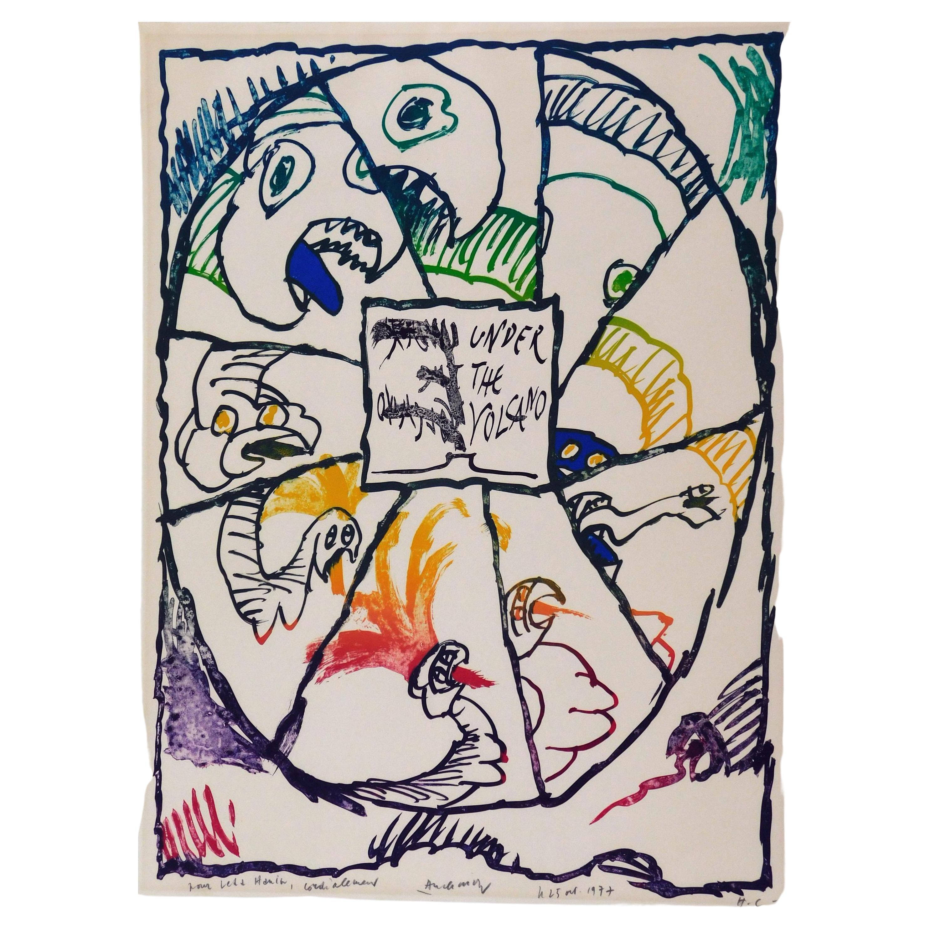 Pierre Alechinsky CoBra Artist Color Lithograph, 1977, Under the Volcano