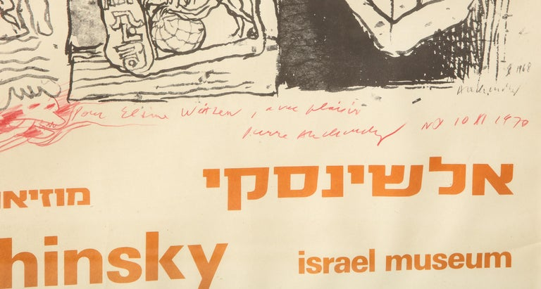 Pierre Alechinsky Poster with Inscription and Drawing For Sale 1