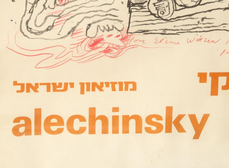 Pierre Alechinsky Poster with Inscription and Drawing For Sale 2