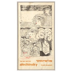 Pierre Alechinsky Poster with Inscription and Drawing