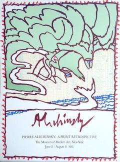 MOMA Print Retrospective 1981 Original Lithograph Poster Mint Green, Blue Waves