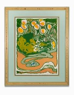"""""""Untitled Landscape"""" Orange, Green, Serigraph, Signed Lower Front"""