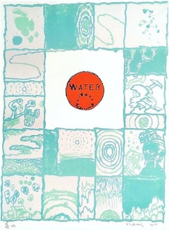 WATER Signed Lithograph, Abstract Brush Painting, NYC Manhole Cover, CoBrA