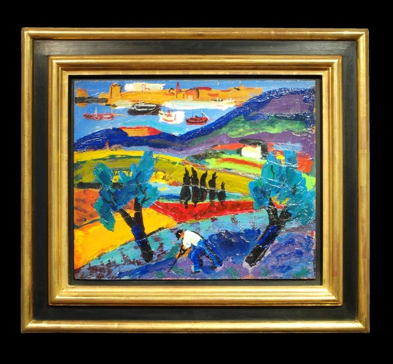 Abstract French Landscape oil painting 'Paysage' by Pierre Ambrogiani 1