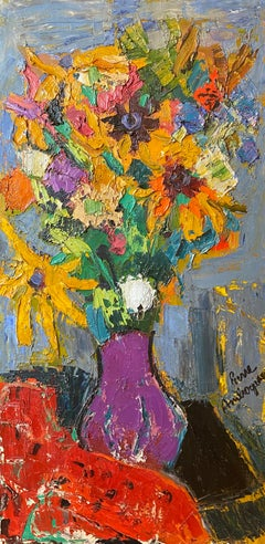 'Bouquet de Fleur' Colourful still life painting of flowers in a vase, red