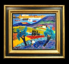 Colourful Abstract French Landscape painting with figure & Olive tree 'Paysage'