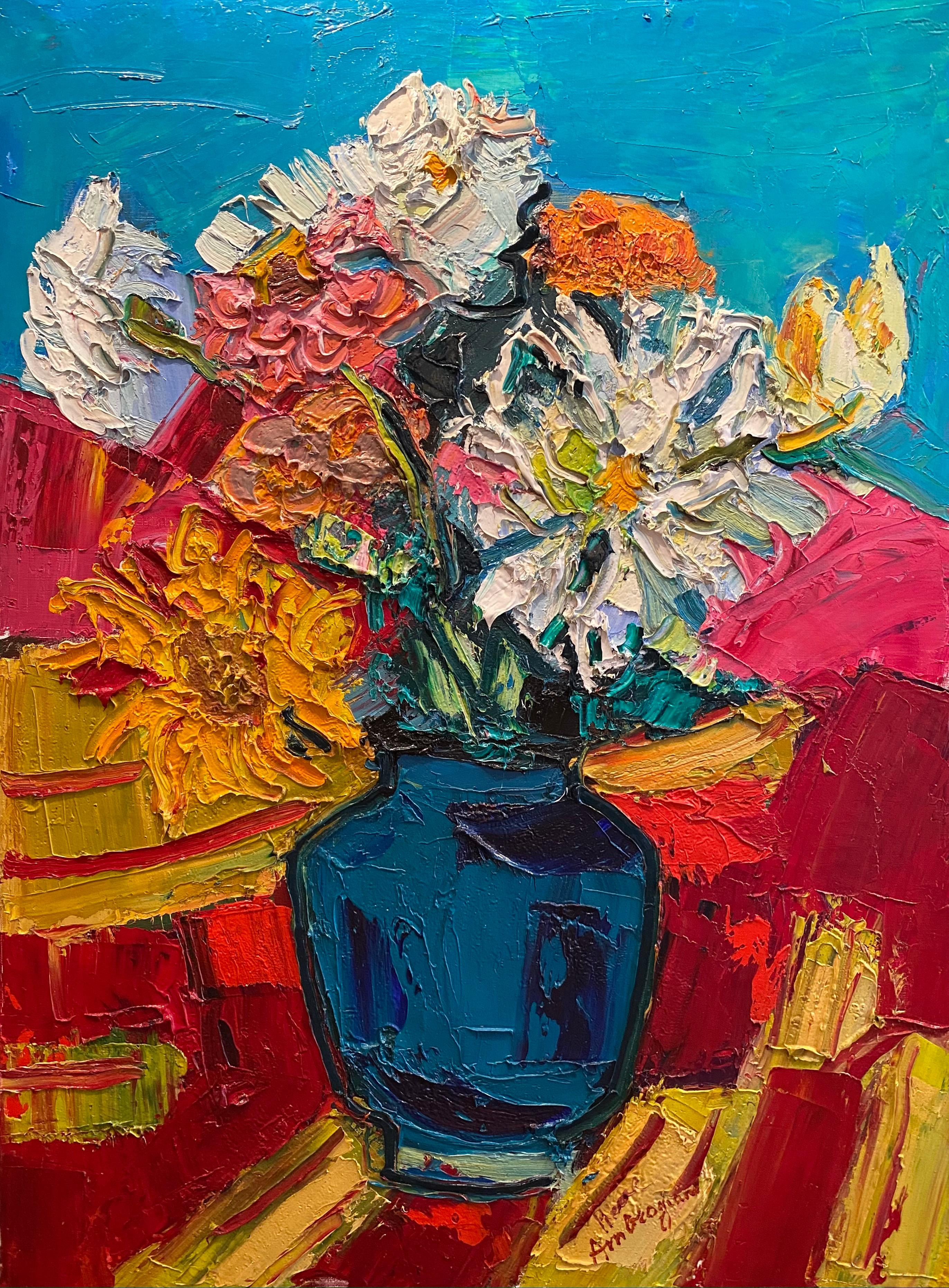 'Le Vase de Fleur' Abstract Still Life of colourful flowers, blue, pinks, reds