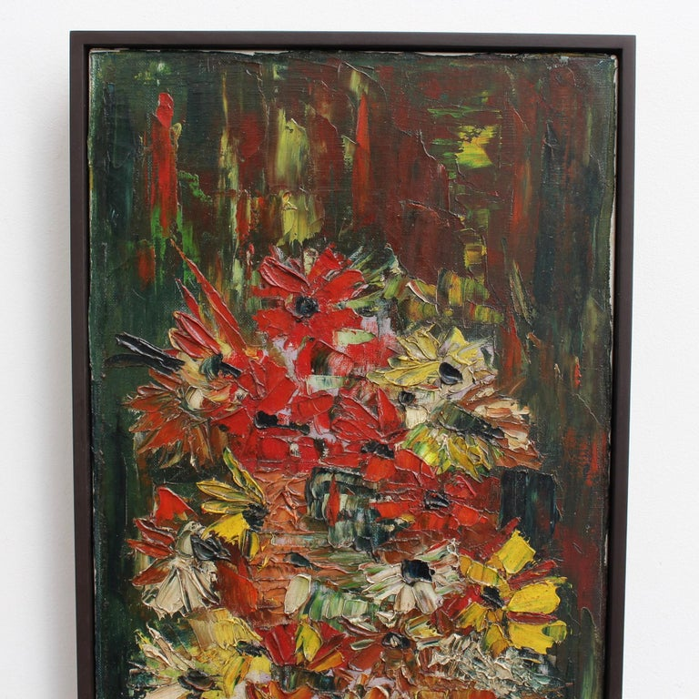 'Still Life with Flowers of the Field', oil on canvas, by Pierre Ambrogiani (circa 1960s). Unique in its vertical orientation, the artwork depicts a spherical glass vase embracing a rainbow of Provençal flowers projecting upwards and outwards from