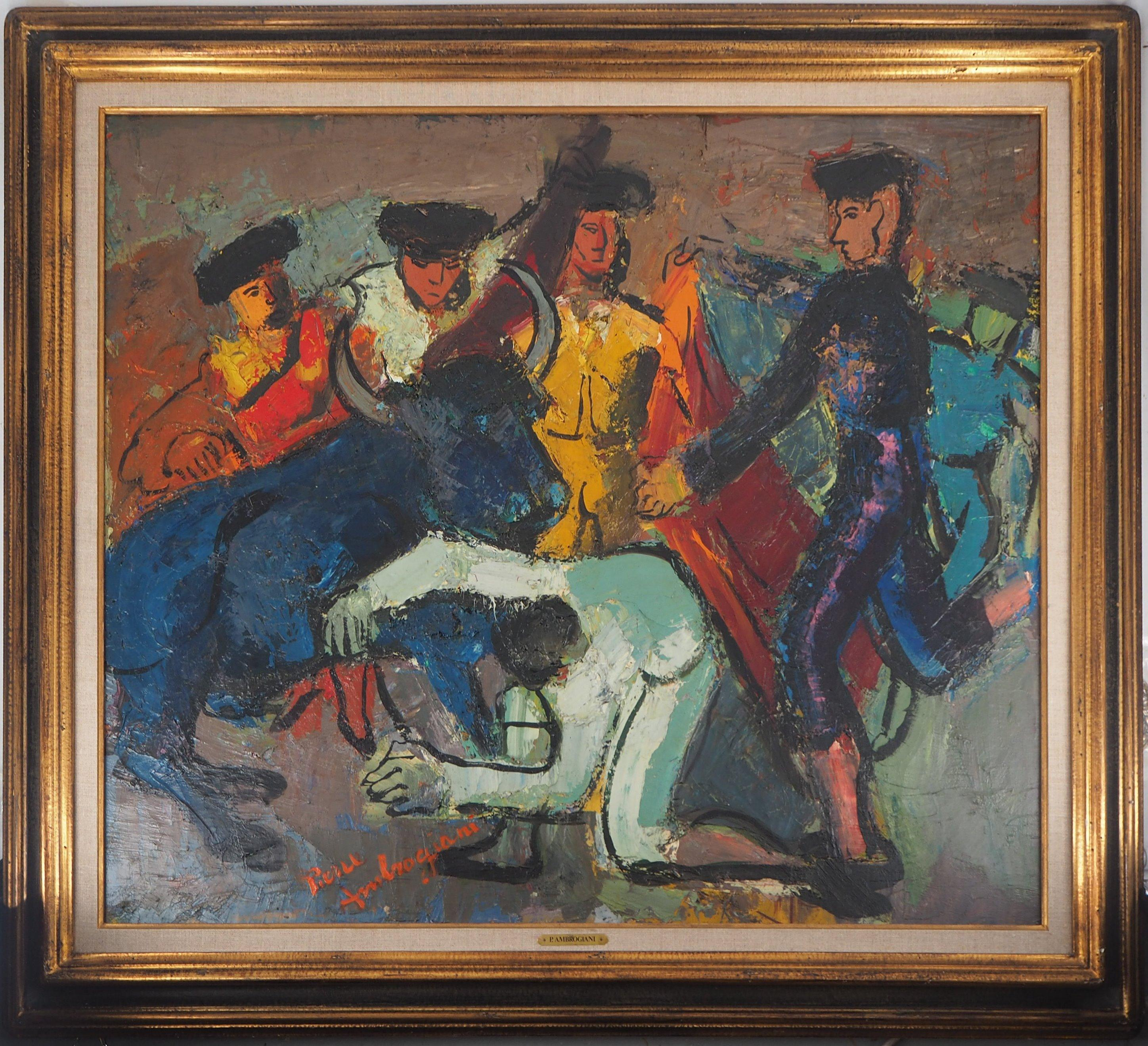 Torero and Bull Entrance - Tall original oil on canvas, Signed and Framed