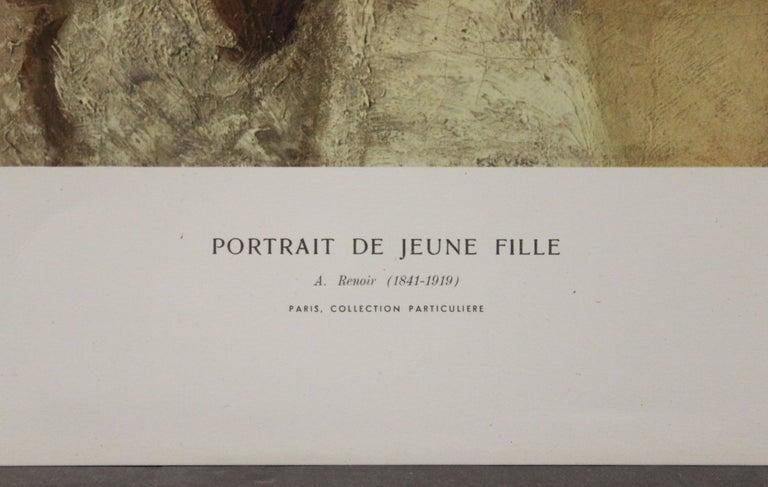 Portrait De Jeune Fille-Poster. Printed in Italy. - Black Portrait Print by Pierre Auguste Renoir