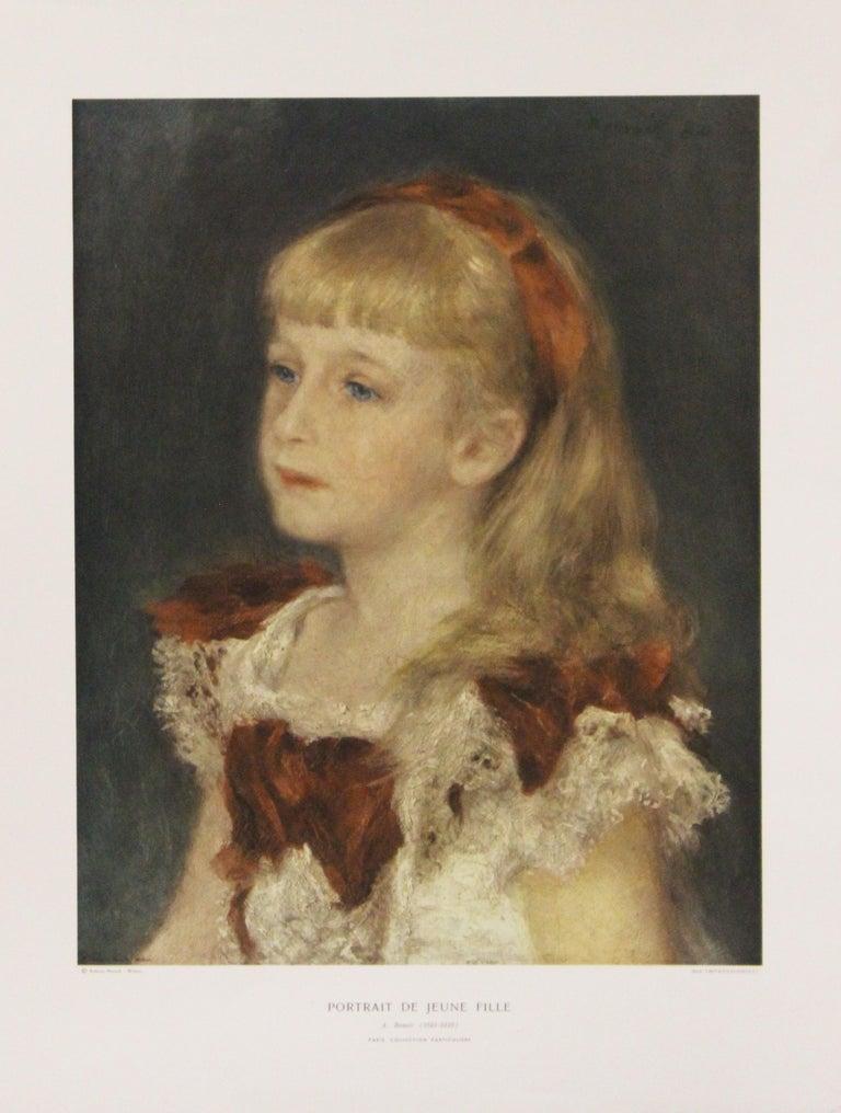 Pierre Auguste Renoir Portrait Print - Portrait De Jeune Fille-Poster. Printed in Italy.