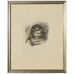 Pierre-Auguste Renoir Original Stone Lithograph, La Tete Baisee