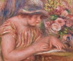 Femme à Corsage à Rayures Jaune et Rouge Ecrivant