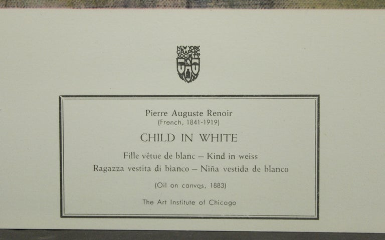 Child In White-Poster. New York Graphic Society.  - Print by Pierre-Auguste Renoir