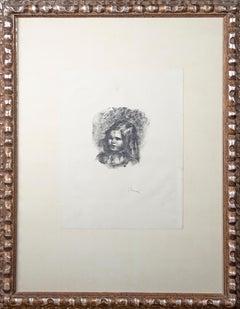 'Claude Renoir, tourné a gauche' original lithograph by Pierre-Auguste Renoir