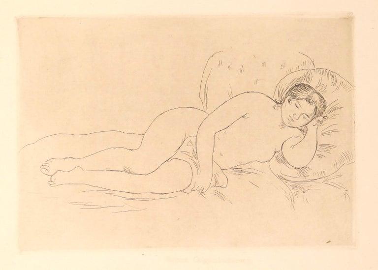 Pierre-Auguste Renoir Figurative Print - Femme Nue Couchée (Tourné à droite)- Etching and Drypoint by P.A. Renoir -  1906