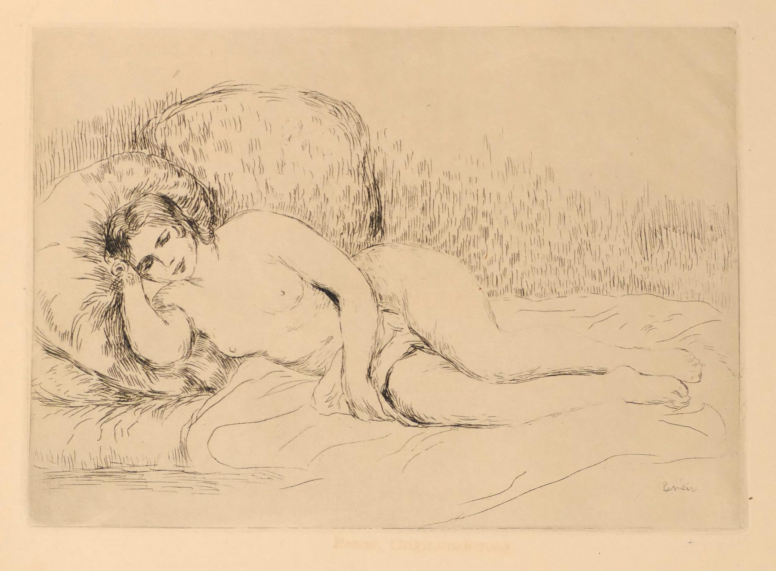 Femme Nue Couchée (Tourné à gauche)- Etching and Drypoint by P.A. Renoir -  1906