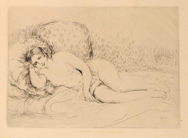 Pierre-Auguste Renoir Nude Print - Femme Nue Couchée (Tourné à gauche)- Etching and Drypoint by P.A. Renoir -  1906