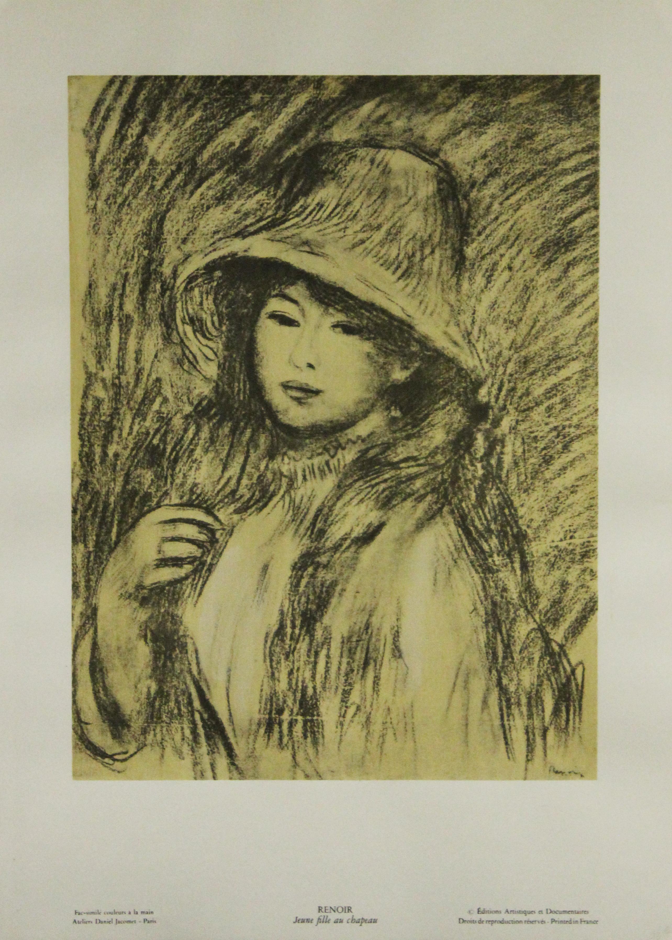 """Jeune fille au chapeau"" Printed in France"