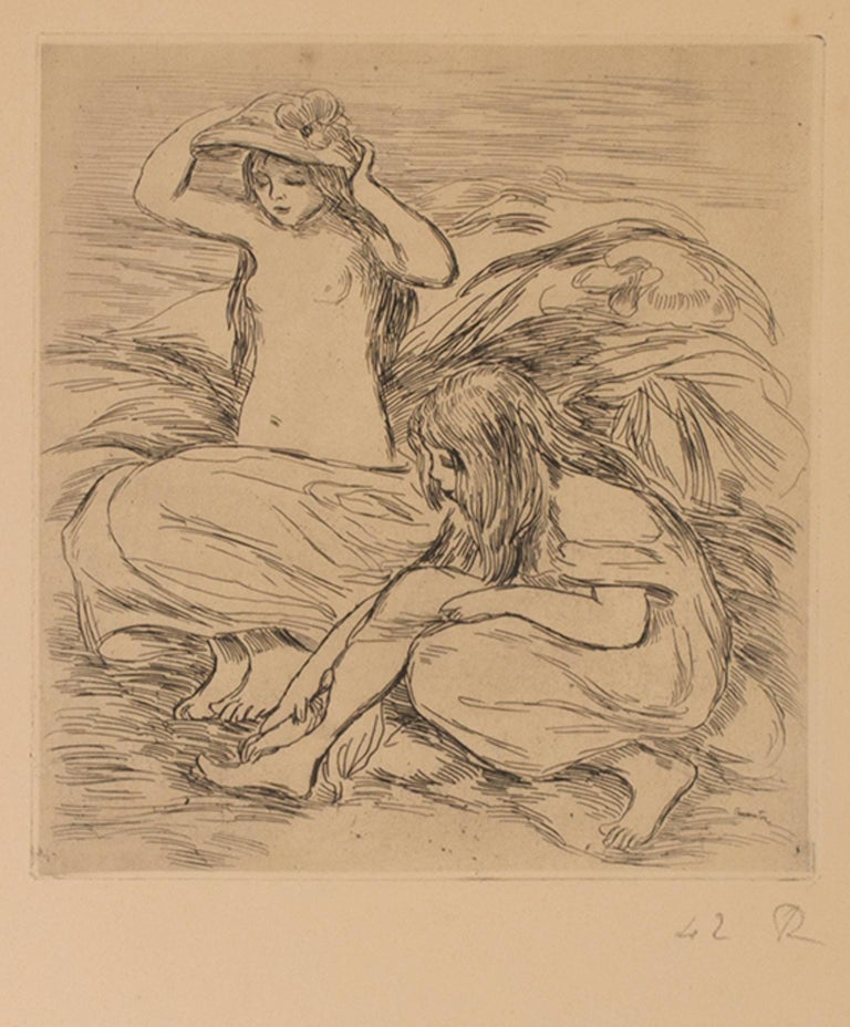 """""""Les Deux Baigneuses (The Two Bathers)"""" is an original etching from 'L'Estampe Originale' by Pierre-Auguste Renoir. The artist initialed the piece and wrote the edition number (42/100) in the lower right. The stamp of the publication is in the lower"""