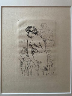 Nude Bather - Original Etching - Early 20th Century