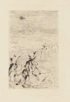 Sur la Plage, à Berneval - Etching and Drypoint by P.A. Renoir -  1921