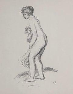 Woman Bathing, Standing, Full Length Profile