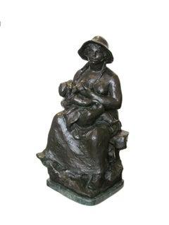"""""""La Maternite,"""" bronze portrait statue by Pierre-Auguste Renoir"""